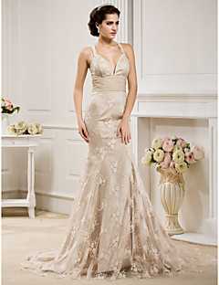 Lanting Bride Trumpet/Mermaid Petite / Plus Sizes Wedding Dress-Sweep/Brush Train Straps Chiffon / Lace