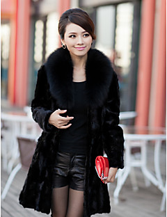 Elegant Langærmet Fox Fur Collar Evening Mink Fur Coat