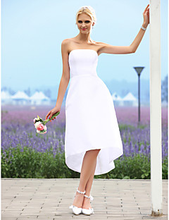 LAN TING BRIDE A-line Princess Wedding Dress - Chic & Modern Reception Little White Dress Asymmetrical Strapless Taffeta with