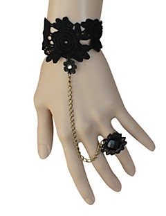 Black Floral Lace Classic Lolita Bracelet with Flower Ring