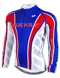 NUCKILY® חולצת ג'רסי לרכיבה לגברים שרוול ארוך אופניים נושם / שמור על חום הגוף / ייבוש מהיר / עמיד אולטרה סגול צמרות 100% פוליאסטר / גיזות