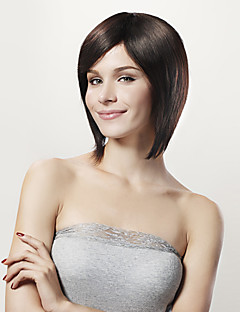 Capless korta bob svart 100% huamn håret peruk sidan bang