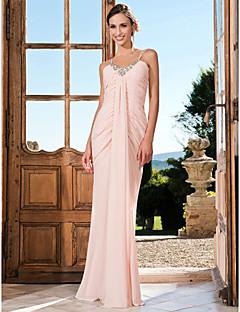 저녁 정장파티/프롬/밀리터리 볼 드레스 - 펄 핑크 트럼펫/멀메이드 바닥 길이 V넥/스파게티 스트랩 쉬폰 플러스 사이즈
