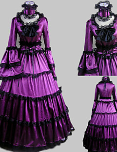 Langermet Floor lengde Purple Satin Aristocrat Lolita Dress