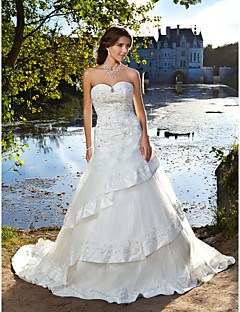 Lanting  Ball Gown Sweetheart Chapel Train Tulle Satin Wedding Dress