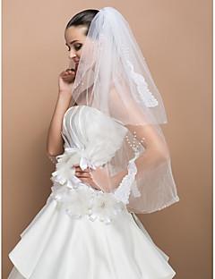 공작 패턴이 두 계층 팔꿈치 귀여운 에지 웨딩 베일