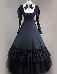 Langermet Floor lengde Black Cotton Gothic Lolita Dress