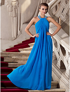 TS Couture Formal Evening / Prom / Military Ball Dress - Ocean Blue Plus Sizes / Petite Sheath/Column Halter Floor-length Chiffon