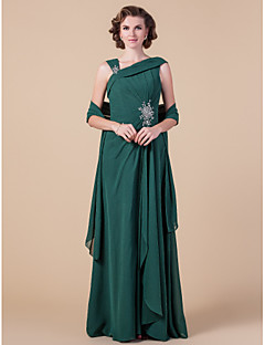 Sheath / Column Plus Size / Petite Mother of the Bride Dress - Wrap Included Floor-length Sleeveless Chiffon withBeading / Draping / Side