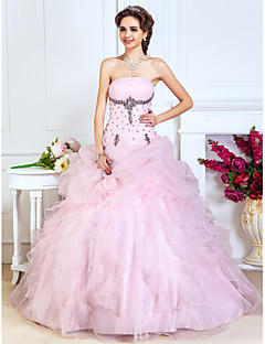 Prom/Formal Evening/Quinceanera/Sweet 16 Dress - Blushing Pink Plus Sizes A-line/Princess/Ball Gown Strapless Floor-length Organza