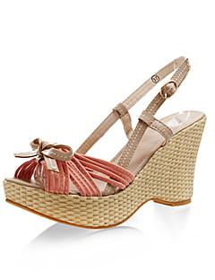 de schoenen van vrouwen kunstleer linnen sleehak sling-back sandalen met strik voor een tuinfeest / avond (meer kleuren)
