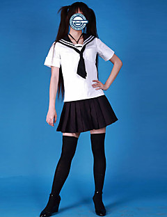 Cute Girl White and Black Cotton Sailor skoleuniform (4 Pieces)