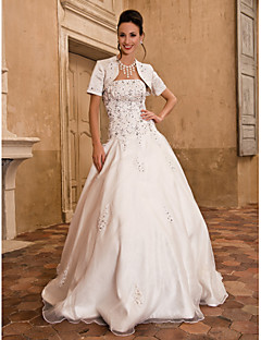 Lanting Bride Ball Gown Petite / Plus Sizes Wedding Dress-Floor-length Strapless Satin / Taffeta