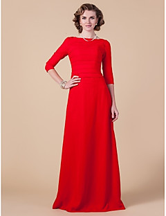 Lanting Sheath/Column Plus Sizes / Petite Mother of the Bride Dress - Ruby Floor-length 3/4 Length Sleeve Chiffon
