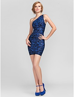 Cocktail Party Dress - Petite Sheath/Column One Shoulder Short/Mini Rayon