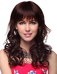 Capless Long Wavy 100% Human Hair Wigs with 2 Colors Choice
