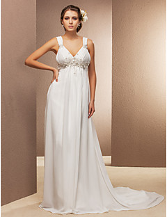 Sheath/Column Plus Sizes Wedding Dress - Ivory Court Train V-neck Chiffon