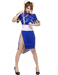 Cosplay Costume Inspired by Street Fighter Chun-Li Blue Cheongsam