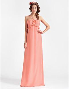 Floor-length Chiffon Bridesmaid Dress - Watermelon Plus Sizes A-line/Princess Spaghetti Straps
