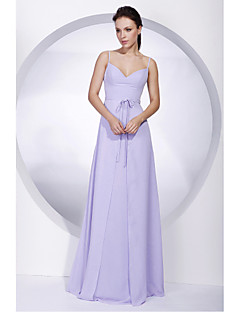 Floor-length Chiffon Bridesmaid Dress A-line Spaghetti StrapsApple / Hourglass / Inverted Triangle / Pear / Rectangle / Plus Size /