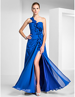 Formal Evening/Military Ball Dress - Royal Blue Plus Sizes Sheath/Column One Shoulder/Sweetheart Floor-length Chiffon