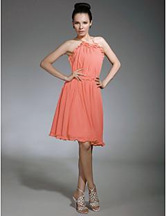 LAN TING BRIDE באורך  הברך קולר רצועות ספגטי שמלה לשושבינה - גב פתוח ללא שרוולים שיפון