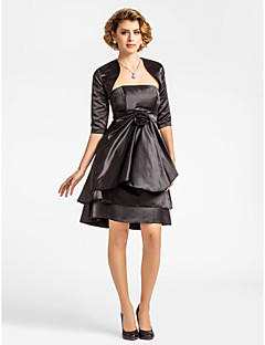 Lanting A-line Plus Sizes / Petite Mother of the Bride Dress - Black Knee-length Half Sleeve Satin