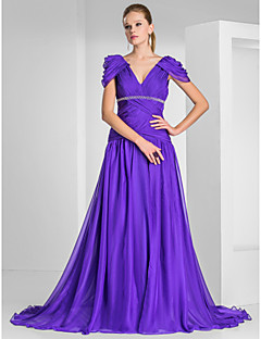 TS Couture® Formal Evening / Military Ball Dress - Elegant Plus Size / Petite A-line / Princess V-neck Sweep / Brush Train Chiffon with Beading /