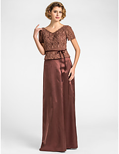 Lanting Sheath/Column Plus Sizes / Petite Mother of the Bride Dress - Chocolate Floor-length Short Sleeve Lace / Stretch Satin