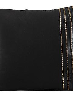 Classic Black Solid konstläder Dekorativ örngott