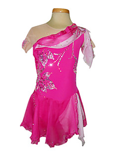 Dumb Light Spandex Elasticated Net Silk Chiffon Figure Skating Clothing Rose