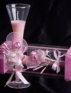 Blumen Thema Candle Favors Stück / Set Kerzen / Kerzenhalter Rosa