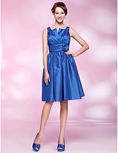 Homecoming Cocktail Party Dress - Royal Blue Plus Sizes A-line/Princess Straps/Notched Knee-length Taffeta