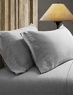 einfach&opulence® 2er-Pack Kissensatz, 100% Leinen solide grau