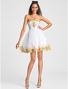 Homecoming Cocktail Party/Homecoming/Sweet 16 Dress - White Plus Sizes Ball Gown/A-line Sweetheart/Strapless Short/Mini Tulle/Lace