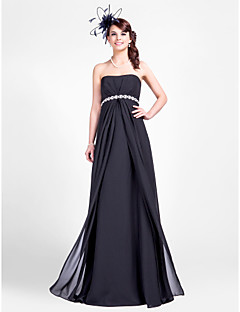Lanting Bride Floor-length Chiffon Bridesmaid Dress Sheath / Column Strapless Plus Size / Petite with Beading / Draping / Side Draping
