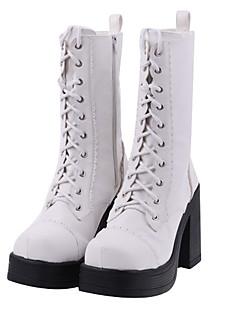 Handmade White PU Leather 11cm High Heel Classic Lolita Boots