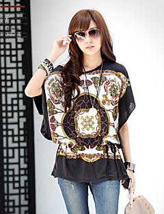 T-shirt Da donna Casual Semplice / Moda città Estate,Con stampe Nero Mezze maniche