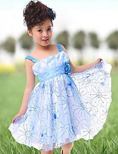 Flower Girl Dress - Linha-A/Baile/Princesa Coquetel Sem Mangas Tule