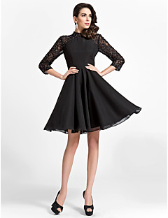 TS Couture Cocktail Party Dress - Black Plus Sizes / Petite A-line / Princess High Neck Knee-length Chiffon / Lace