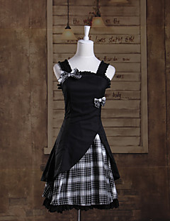 Sleeveless Short Black Check Pattern Cotton Sweet Lolita Dress