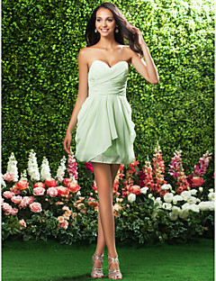 Short/Mini Chiffon Bridesmaid Dress-Plus Size / Petite Sheath/Column Strapless / Sweetheart