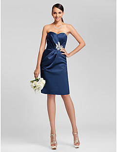 Homecoming Bridesmaid Dress Knee Length Satin Sheath Column Sweetheart Dress