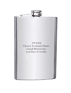 Marié / Groom Cadeaux Piece / Set Flasque Classique Mariage / Célébration / Anniversaire Inox Personnalisé Flasque Argent Boîte à cadeau