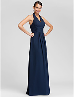 Lanting Bride Floor-length Chiffon Bridesmaid Dress - Mini Me Sheath / Column Halter / V-neck Plus Size / Petite withDraping / Criss