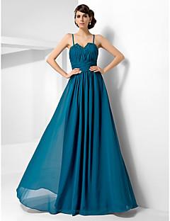 저녁 정장파티/밀리터리 볼 드레스 - 잉크 블루 A라인/프린세스 바닥 길이 스위트하트/스파게티 스트랩 쉬폰 플러스 사이즈