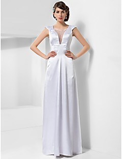 Formal Evening / Military Ball Dress - White Plus Sizes / Petite Sheath/Column Scoop Floor-length Stretch Satin