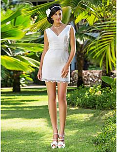 lanting 신부 시스 / 아담 열 / 플러스는 웨딩 드레스 짧은 크기 / 미니 V 넥 레이스