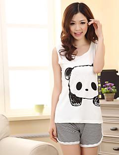 bonito pijama panda impressão das mulheres (comprimento superior: 61cm de busto: 82 centímetros comprimento curto: 31 centímetros)