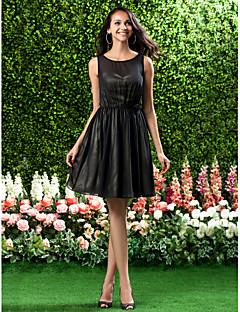 신부 들러리 드레스 - 블랙 A라인/프린세스 무릎길이 스쿱 쉬폰 플러스 사이즈